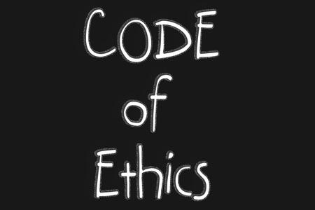 Code of Ethics text with blackgroun Stock Photo