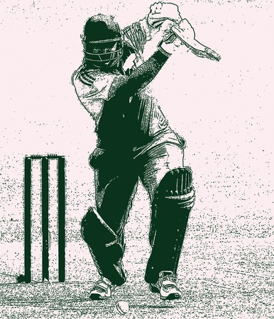 batsman: Right hand batsman cricket shot and wickets Stock Photo