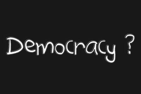 democracia: Democracia Texto blackgroun y el signo del signo de interrogación