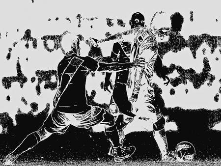 Playing football - a illustration Stock Illustration - 12162189