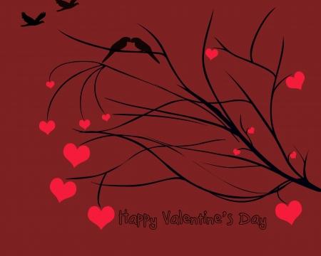 Hearts on Tree Branch Stock Photo