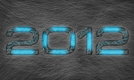 new year 2012 text with grungy metal effect photo
