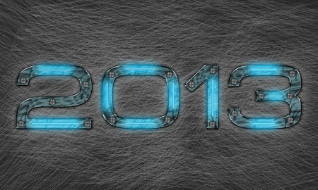 new year 2013 text with grungy metal effect photo