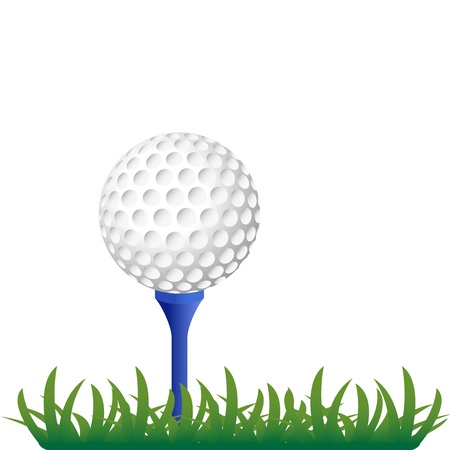 golf ball on grass illustration Vector