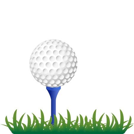 golf ball on grass illustration Illustration