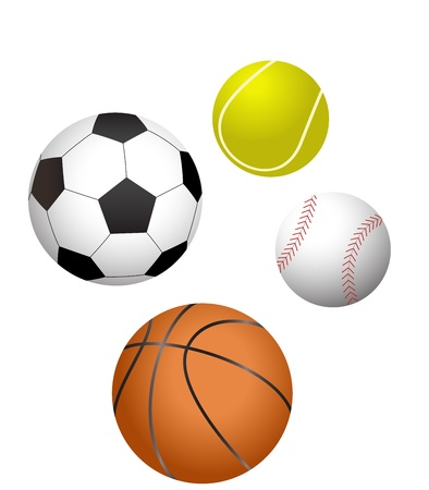 sports balls: four major sports balls illustration Illustration