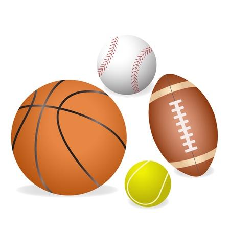 ボール: 4 つの主要なスポーツのボールの図