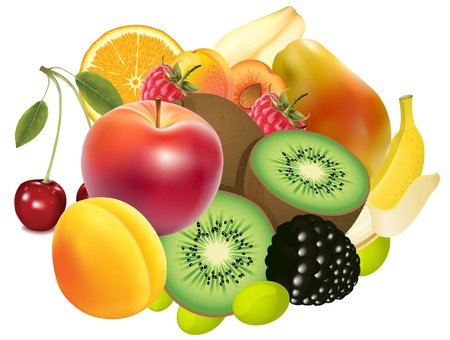 fruitmand: verscheidenheid van exotische vruchten - realistische look illustratie