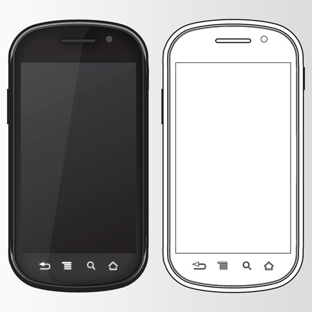 smart phone illustration in black and white colors