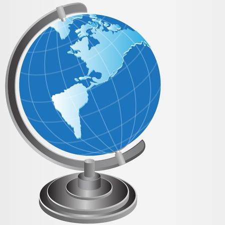 world globe on stand - illustration