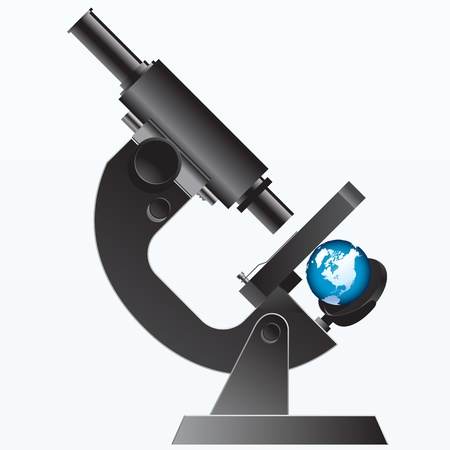eyepiece: earth under the Microscope - illustration