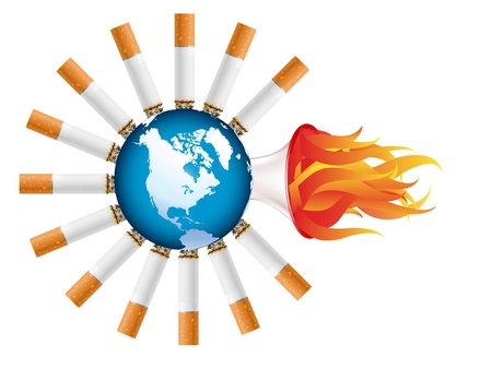 cigarette burning the world - illustration Stock Vector - 12430859
