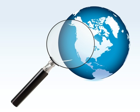 analyzing earth through a magnifying glass Illustration