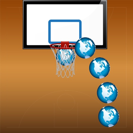 playing basketball with globe - illustration Stock Vector - 12430858