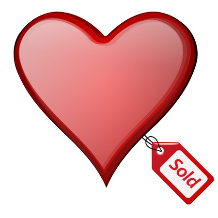 cherish: sold heart illustration with sold tag
