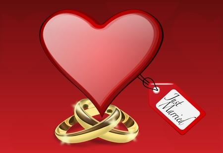 just married: Ilustración Recién casado con el corazón y anillos de oro Vectores