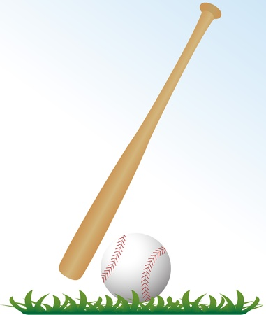 leather stitch: baseball and bat on grass with white background