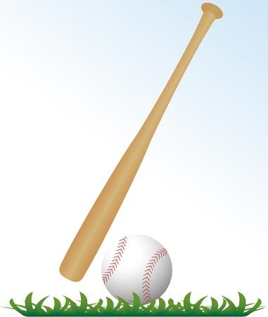 murcielago: bate de béisbol y en la hierba con el fondo blanco Vectores