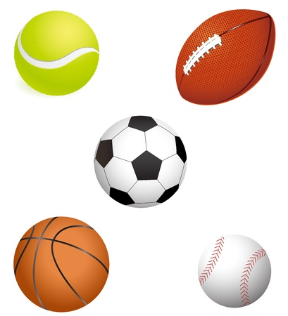 major sport balls illustration with white background Stock Vector - 12496218