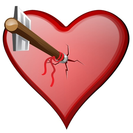 relationship breakup: cracked heart with arrow isolated on white