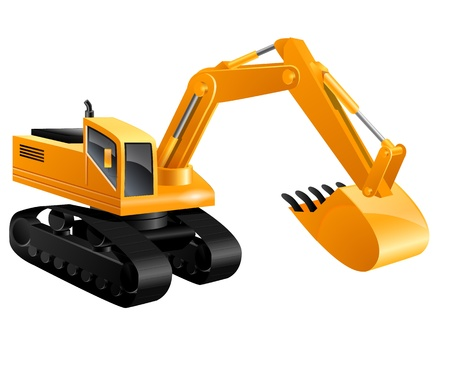 isolated construction excavator - illustrated in real colors Stock Vector - 12496216