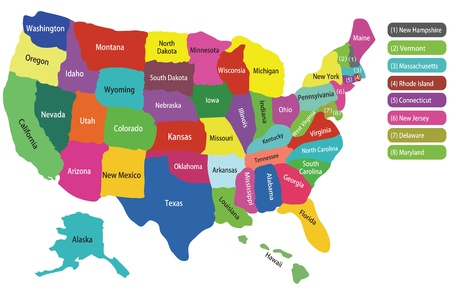 usa map with states and colorful background to hightlight each state Vector