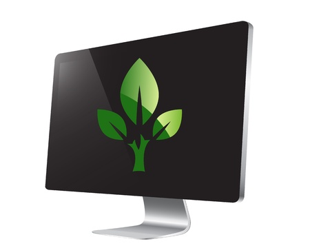 reprocess: green eco sign on tv screen - illustration Illustration