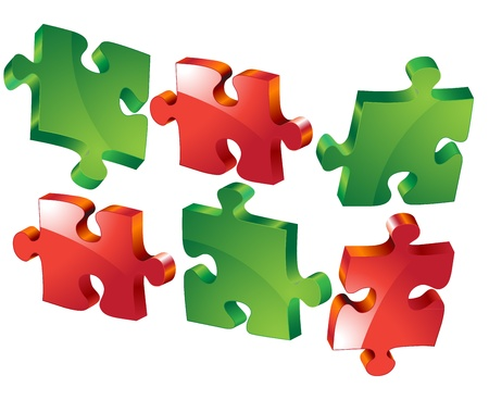 jig saw puzzle: puzzle icons isolated on white background