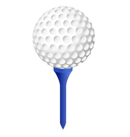 balle de golf sur peg bleu avec un fond blanc