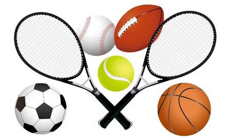 스포츠 공 및 테니스 라켓 그림 일러스트