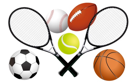 equipments: Sports ball and tennis rackets illustration