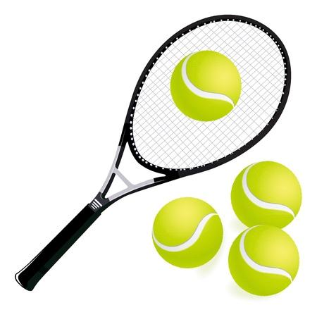 raqueta de tenis: raquetas de tenis y las pelotas con fondo blanco