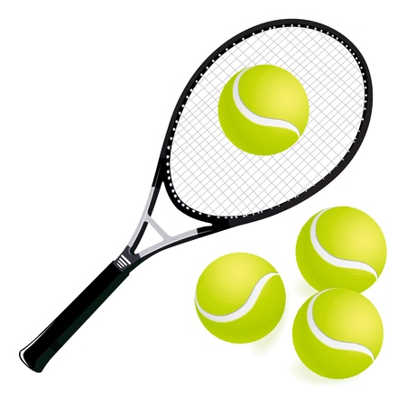 racket sport: tennis racket and balls with white background Illustration