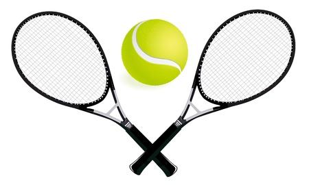 raqueta de tenis: dos raquetas de tenis y pelota de ilustración