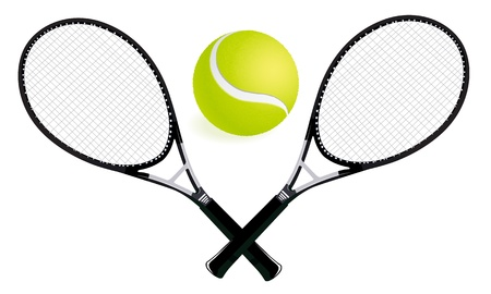 tennis net: two tennis rackets and ball illustration Illustration