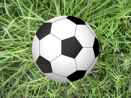soccer ball on green grass - top view Stock Photo - 12651659