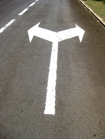 two ways turning direction sign for road traffic photo
