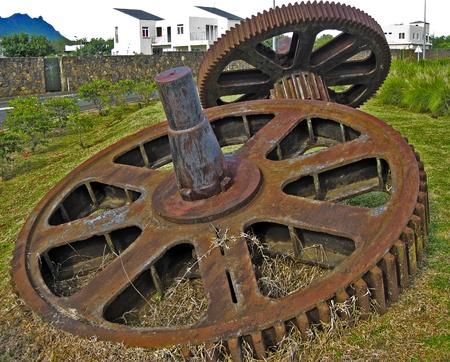 big old gears fixed at beau basin,mauritius Stock Photo - 12641393
