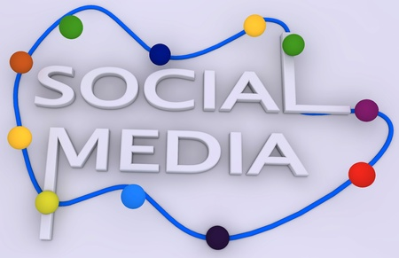 bookmarking: Social media concept with different colors circles and text