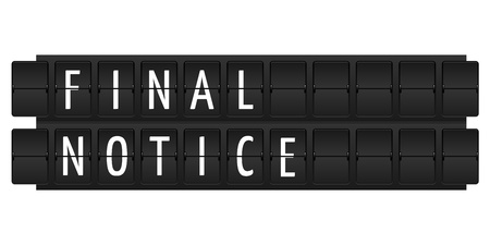 final notice text in table style Stock Photo