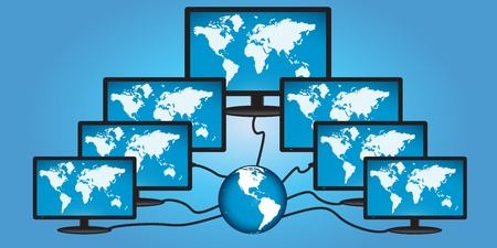 global networking: Concepto de red global con el fondo azul