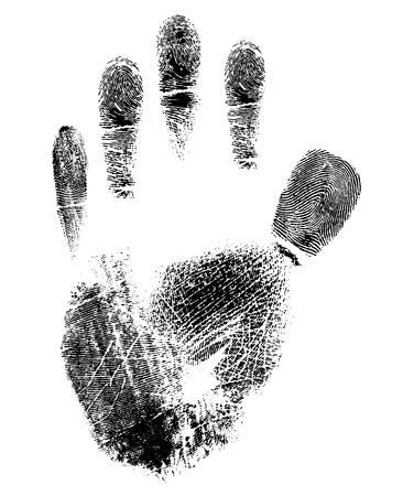 criminal investigation: Hand print vector - isolated on white background Illustration