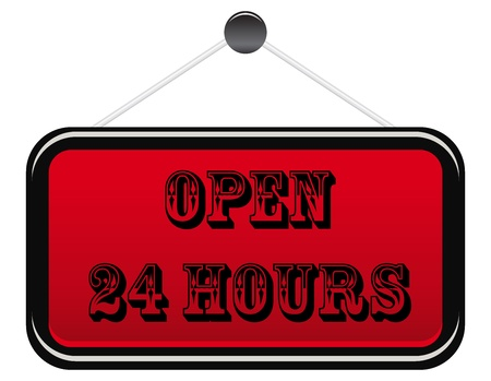 open 24 hours text on red board Vector
