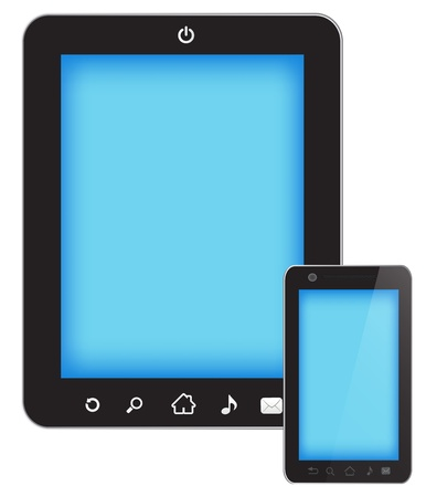 Tablet touch pc and smart phone isolated on white