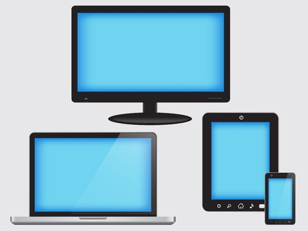 Device Set of monitor, tablet pc,smart phone and laptop Vector