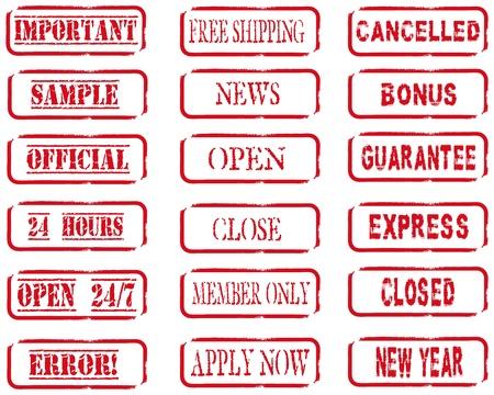 fouten: Verschillende stempels in rode kleur