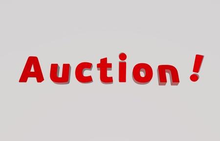 settled: Auction text  - 3d render