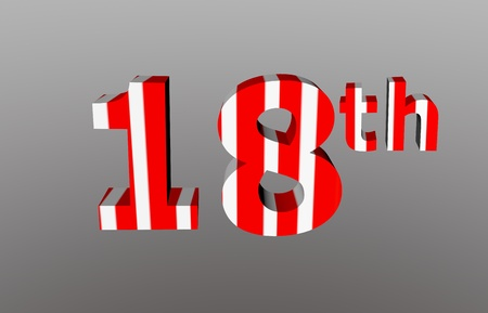 colorful checkered 3d  anniversary number - 18th Stock Photo - 12986315