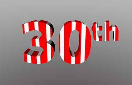 colorful checkered 3d  anniversary number - 30th Stock Photo - 12986316
