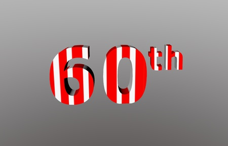 Colorful checkered 3d  anniversary number - 60th Stock Photo - 12986309